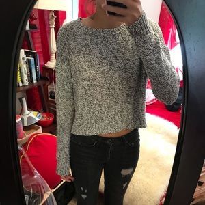 Sweaters - black and white knit cropped sweater